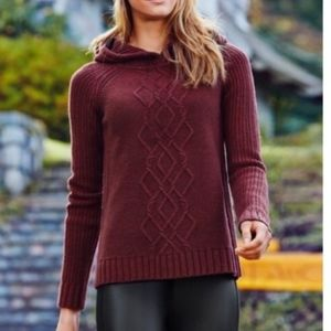 Athleta Chunky Knit Wool Cold Spell Hooded Sweater